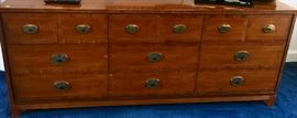"28. Hickory Mahogany 9 Drawer Dresser with Brass Pulls (72""x 19""x 30"")"
