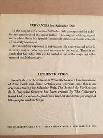 Signed Salvador Dali Cervantes Etching w/ authentification