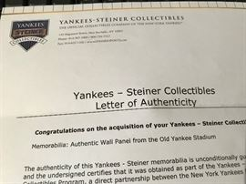 Old New York Yankees Right Field 1st Base side Wall Certificate of Authenticity