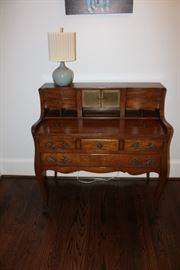 Vintage writing desk, lamp has been sold