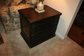 Large antique spool cabinet.