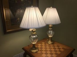 Pair of Waterford Crystal lamps with brass fittings and original shades