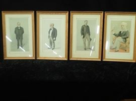 4 Lithographs of Eiffel, Rothchild, Carnegie, and