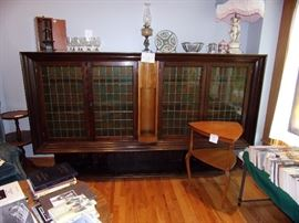 Massive German Book Case with leaded glass windows