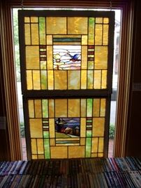 Stained glass pair with wonderful landscape center panels