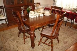 Farm style table with 6 dining room chairs-very nice