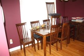 Matching kitchen farm style table with 6 matching chairs