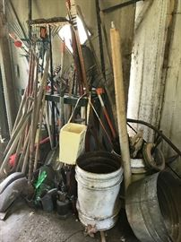 Lots of lawn and garden tools