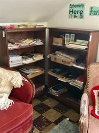 Lots of Ephemera, nice wood bookcases