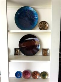 Enamel art plates, trays