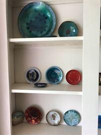 Enamel art trays, plates