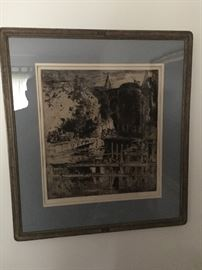 late 1930's signed print, cant make out original frame Mat was replaced in the 1980's $175