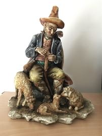 "Borsato Statue,Shepard and his sheep.Mint about 9"" tall. $225"