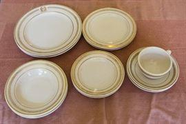 Vintage Restaurant Ware.  Bellevue-Stratford Hotel Dish Set.  7 Dinner plates, 7 Salad Plates.  8 Bread Plates.  7 Cream Soup Bowls, 7 Bullion Soup Bowls.  6 Cups and Saucers.  $90.00
