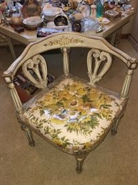 Hand painted vintage corner chairs; octagon matching table