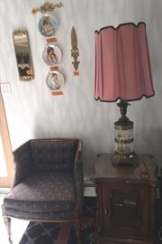 side chair and lamp