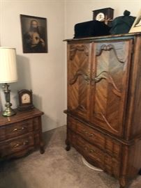 In perfect condition armoire and end tables