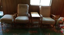 MCM Alert! Heywood Wakefield End Table, Set of Bentwood Chairs and Footstool            https://ctbids.com/#!/description/share/16229