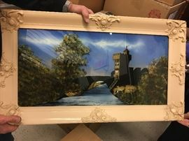 Vintage reverse painting, Castle in Wales