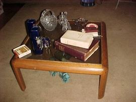 Coffee Table, Bibles, Glassware & Collectibles