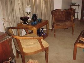 Chairs, Lamp, Lamp Table & Glassware & Collectibles