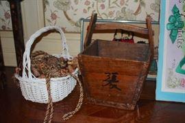 White Basket and Vintage Wood Basket