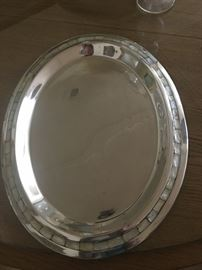 towle pewter and mother-of-pearl platter