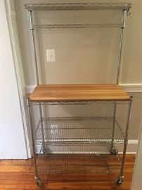Baker's rack with butcher block on casters