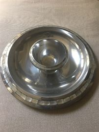 Towle pewter and mother-of-pearl chip and dip