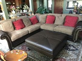 King Hickory sectional couch and oversized ottoman.  VERY NICE and in pristine condition.