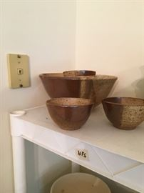 Large salad bowl and 6 small serving size bowls
