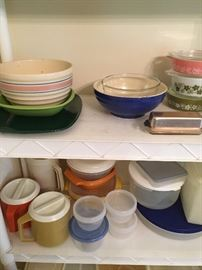 miscellaneous serving bowls and some Tupperware
