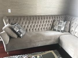 1 year old ARHAUS sectional  93 * 93 inches L SHAPE silver grey tones  Velvet  Stain  resistance   Retail $5,000