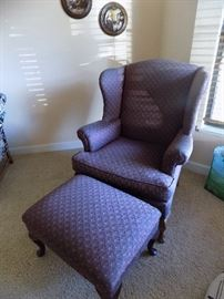 wing back arm chair with foot stool