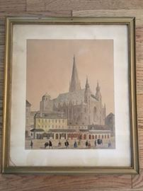 "Framed original watercolor signed M.Neubauer, entitled ""Brandstatte 1776""; size: frame 19-1/8""x16-1/4"", image 13-3/4""x11-1/8""; signature/detail on next photo."