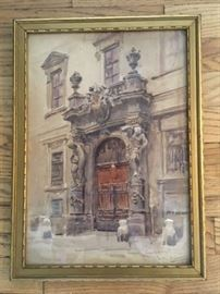 "Notable: Framed original watercolor signed Ernst Graner (1865-1943); 'Palais Lichtenstein, Exhibited at Kunstlerhaus, Vienna""; size: 16""x11-3/4"" ; signature/detail of provenance in next photos."