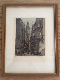 "Framed original signed Luigi Kasimir (1881-1961); size: frame 12-7/8""x9-7/8"", image 7-1/8""x5-1/2"" ; signature/detail in next photo."
