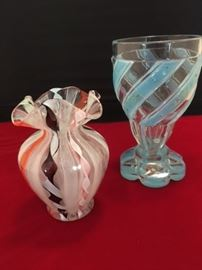 Vintage ribbon glass vase by Murano and very special 18thC goblet with painted blue ribbon and florals.