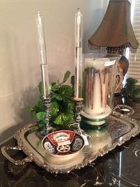 Another pretty silver plate tray and candles