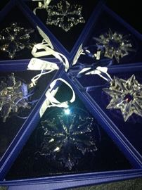 Beautiful Swarovski Christmas ornaments in their original boxes