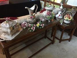 Sofa & end tables w/Capodimonte