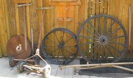 Push mowers, wheels, saws