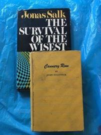 AUTOGRAPHED JONAS SALK BOOK &  FIRST EDITION CANNERY ROW