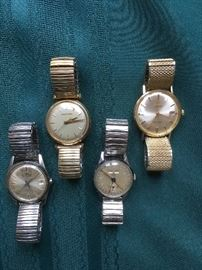VINTAGE MEN'S WATCHES.  FORTIS AUTOMATIC, 14K ACCUTRON, BRITIX 17J, 14K OMEGA & MORE