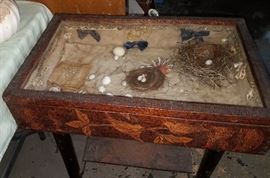 Antiques and primitives. 100 year old handmade memory box on stand