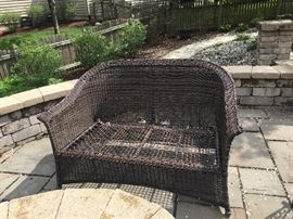 Resin wicker bench -- cushions included