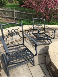 Weighted aluminum low fire pit chairs - cushions included