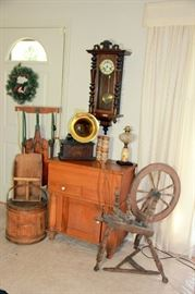 Edison Phonograph, Sugar Bucket, Spinning Wheel, German Wall Clock