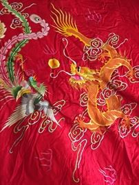 Stunning Embroidered Phoenix and Dragon Chinese bedding