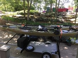 "Closer view of the ""Ocean Kayak"" ready for the perfect fishing lake."